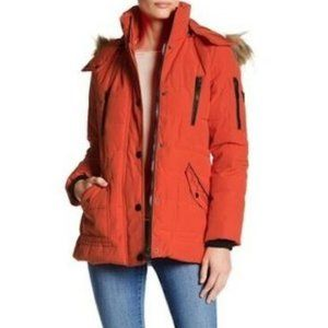Guess Orange Quilted Faux Fur Hooded Parka Jacket